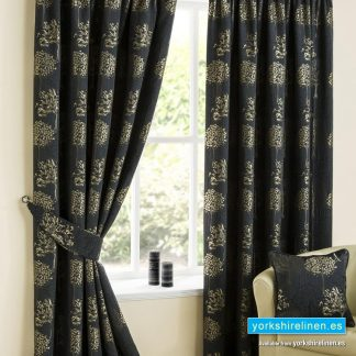 Arden Black & Gold Pencil Pleat Curtains