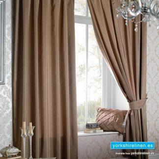 Faux Silk Latte Pencil Pleat Curtains