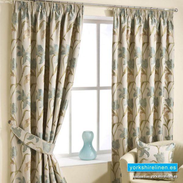 Lily Aqua Pencil Pleat Curtains Yorkshire Linen S L
