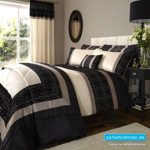 Geo Embellished King Duvet Set, Black