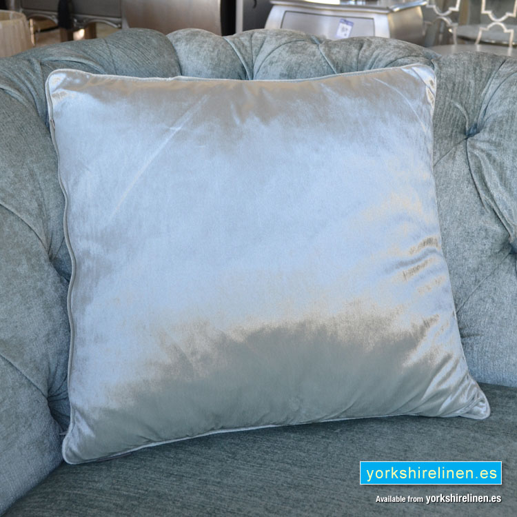 duck egg blue velvet cushion yorkshire linen warehouse s l. Black Bedroom Furniture Sets. Home Design Ideas
