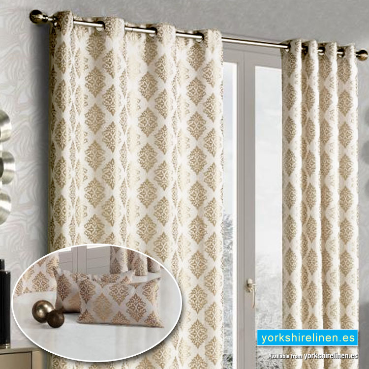 Linen damask ring top curtains taupe yorkshire linen for Beige damask curtains