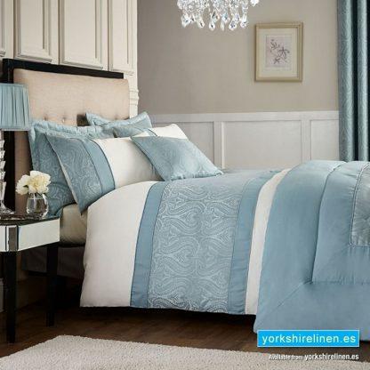 Catherine Lansfield Ornate Jacquard Duck Egg Blue Duvet Cover Set