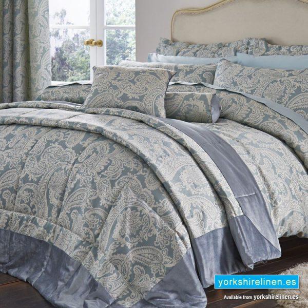 Opulent Jacquard Duck Egg Blue Bedspread - Bedding from Yorkshire Linen Fuengirola Marbella Spain