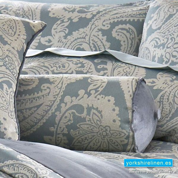 Opulent Jacquard Duck Egg Blue Bolster Cushion - Bedding from Yorkshire Linen Fuengirola Marbella Spain