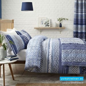 Santorini Blue Duvet Cover Set - Bedding from Yorkshire Linen Fuengirola Marbella Spain