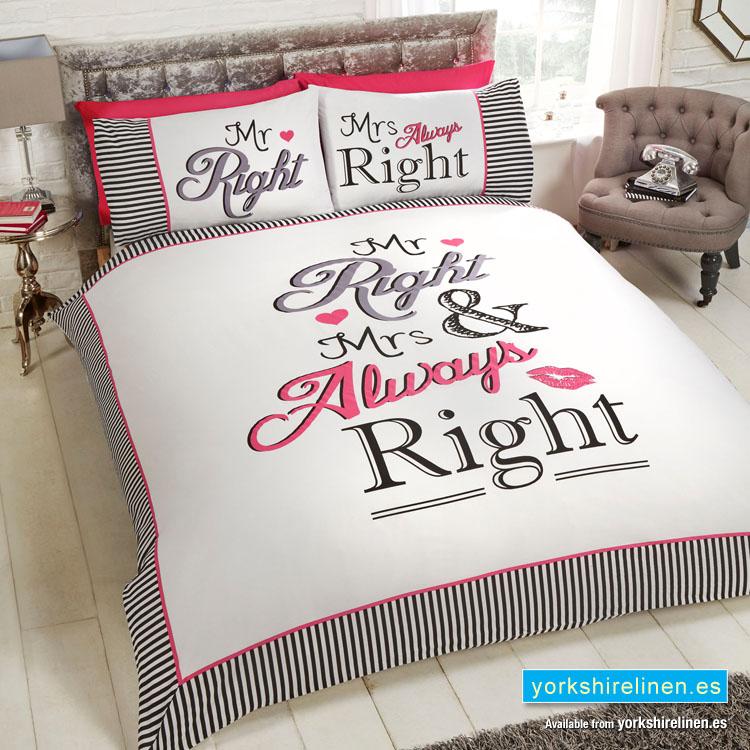 Mr Right Amp Mrs Always Right Duvet Cover Yorkshire Linen