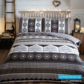 Aspen Flannelette Duvet Cover Set Charcoal from Yorkshire Linen Warehouse