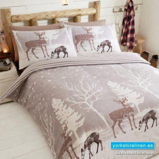 Starlight Forest Flannelette Duvet Cover Set, Mink - Yorkshire Linen Warehouse
