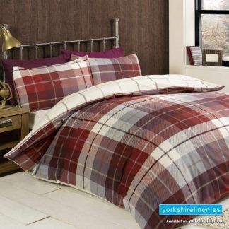 Lomond Check Red Flannelette Duvet Cover Set