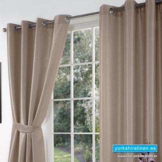 Faux Silk Ring Top Curtains Cappuccino from Yorkshire Linen Warehouse
