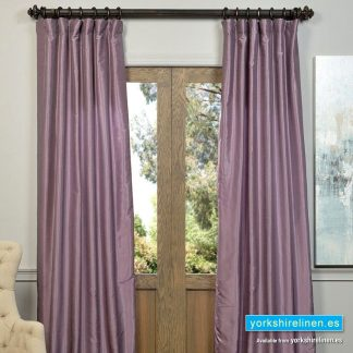 Faux Silk Ring Top Curtains Mauve from Yorkshire Linen Warehouse