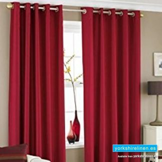 Faux Silk Ring Top Curtains Red from Yorkshire Linen Warehouse