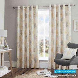 Skandi Leaf Ochre Ring Top Curtains - Yorkshire Linen Warehouse Mijas Prestige Marbella