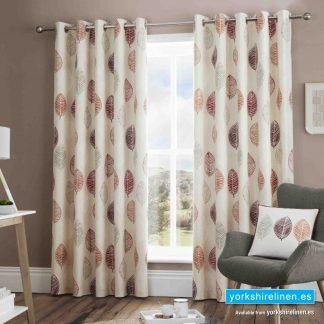 Skandi Leaf Red Ring Top Curtains - Yorkshire Linen Warehouse Mijas Prestige Marbella
