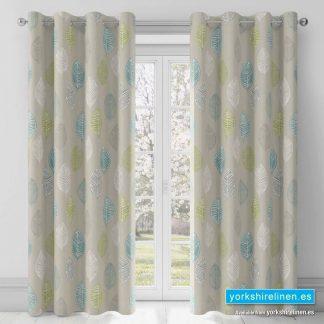 Skandi Leaf Teal Ring Top Curtains - Yorkshire Linen Warehouse Mijas Prestige Marbella
