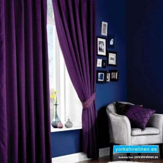 Faux Silk Eyelet Curtains, Aubergine