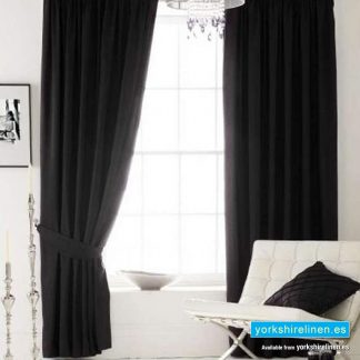 Faux Silk Eyelet Curtains, Ink Black