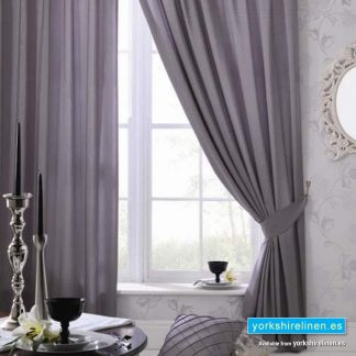Faux Silk Eyelet Curtains, Silver