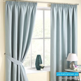 Rico Chenille Duck Egg Pencil Pleat Curtains