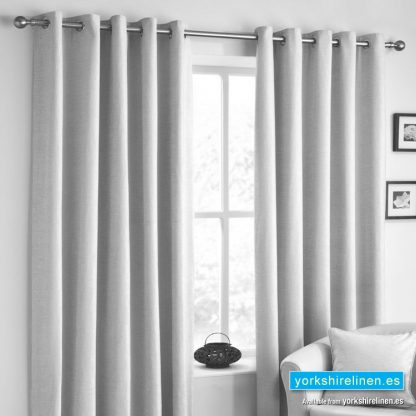 Rico Chenille Eyelet Curtains Silver