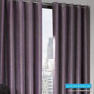 Logan Aubergine Eyelet Ring Top Thermal Blackout Curtains