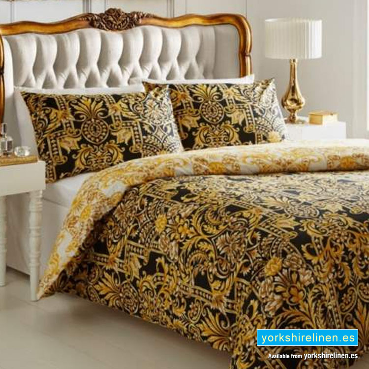 Milan Black Gold Duvet Cover Set Yorkshire Linen Warehouse Sl