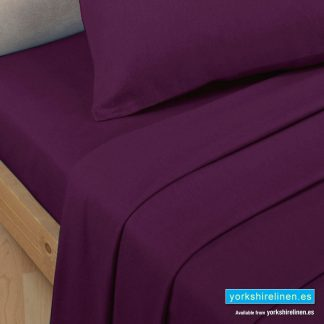 Polycotton Percale Fitted Valanced Sheets - Aubergine