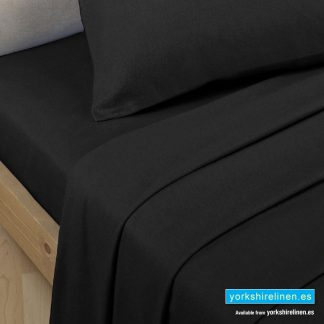 Polycotton Percale Fitted Valanced Sheets Black
