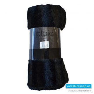Faux Fur Plaid Throw, Black
