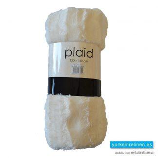Faux Fur Plaid Throw Cream