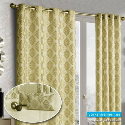 Linen Damask Ring Top Curtains Gold