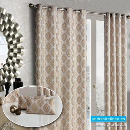 Linen Damask Ring Top Curtains, Natural