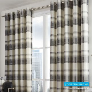 Balmoral Charcoal Ring-Top Curtains