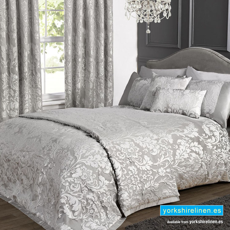 Charleston Jacquard Duvet Cover Set Grey Yorkshire