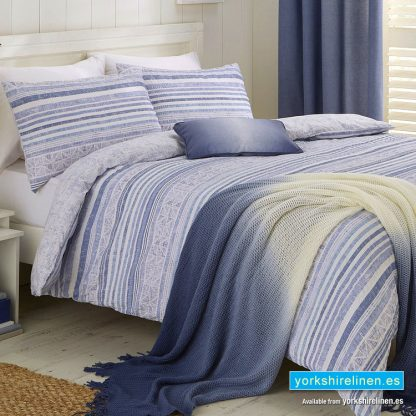 Hadlow Seersucker Duvet Cover Set, Blue - Bedding from Yorkshire Linen Fuengirola Marbella Spain