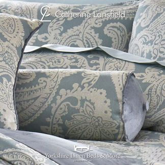 Opulent-Jacquard-Duck-Egg-Blue-Bolster-Cushion-Bedding-from-Yorkshire-Linen-Fuengirola-Marbella-Spain copy