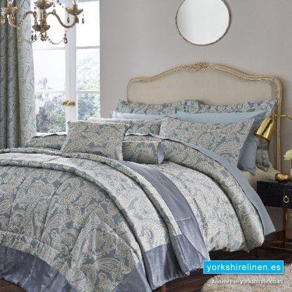 Opulent Jacquard Duck Egg Blue Duvet Cover Set - Bedding from Yorkshire Linen Fuengirola Marbella Spain