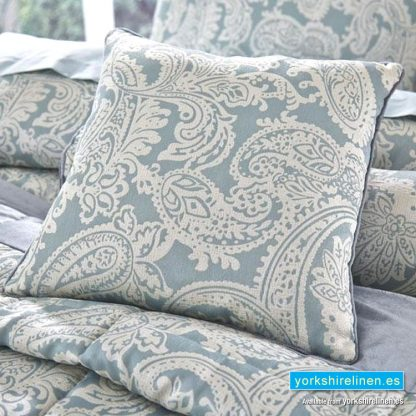Opulent Jacquard Duck Egg Blue Square Cushion - Bedding from Yorkshire Linen Fuengirola Marbella Spain