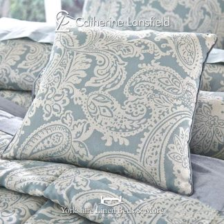 Opulent-Jacquard-Duck-Egg-Blue-Square-Cushion-Bedding-from-Yorkshire-Linen-Fuengirola-Marbella-Spain copy