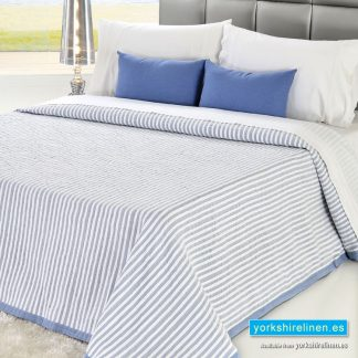 Bambu Cotton Rich Lightweight Bedspread, Blue
