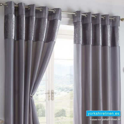 Boulevard Grey Ring Top Curtains from Yorkshire Linen Spain