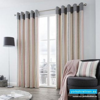 Rydell Stripe Blush Eyelet Curtains from Yorkshire Linen Spain