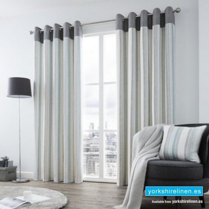 Rydell Stripe Teal Eyelet Curtains from Yorkshire Linen Spain