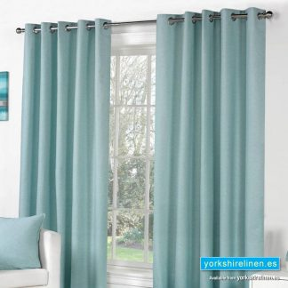 Sorbonne Duck Egg Eyelet Curtains from Yorkshire Linen Spain