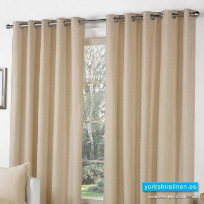 Sorbonne Natural Eyelet Curtains from Yorkshire Linen Spain