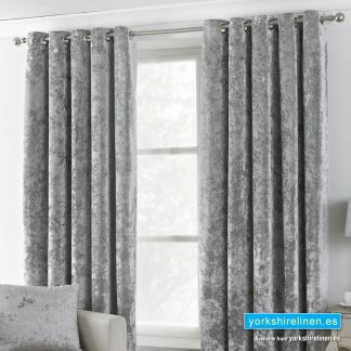 Verona Crushed Velvet Curtains Silver from Yorkshire Linen Spain