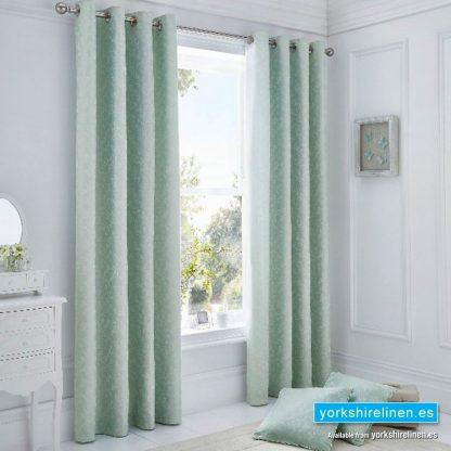 Ebony Jacquard Duck Egg Ring Top Curtains, Yorkshire Linen, Mijas Costa, Marbella, Spain