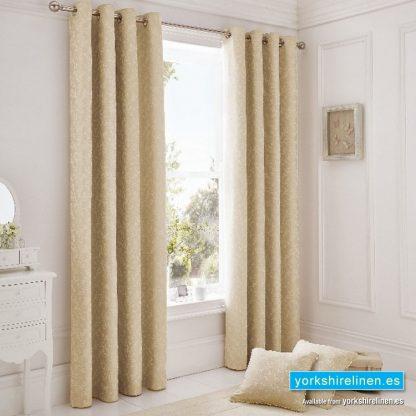 Ebony Jacquard Natural Ring Top Curtains, Yorkshire Linen, Mijas Costa, Marbella, Spain