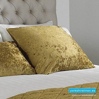 Verona Crushed Velvet Cushion Ochre, Yorkshire Linen, Mijas Costa, Marbella, Spain